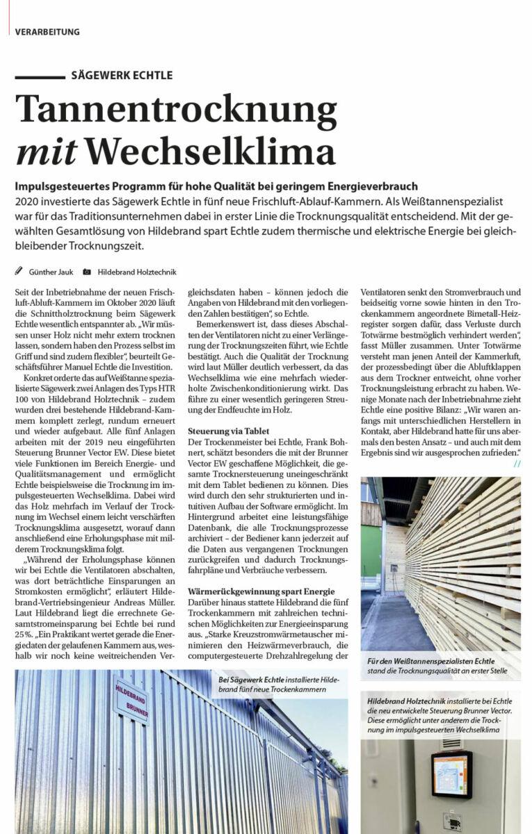 Hildebrand-Brunner HolzKurier-Ausgabe06_2021_Echtle HolzKurier - Sägewerk Echtle